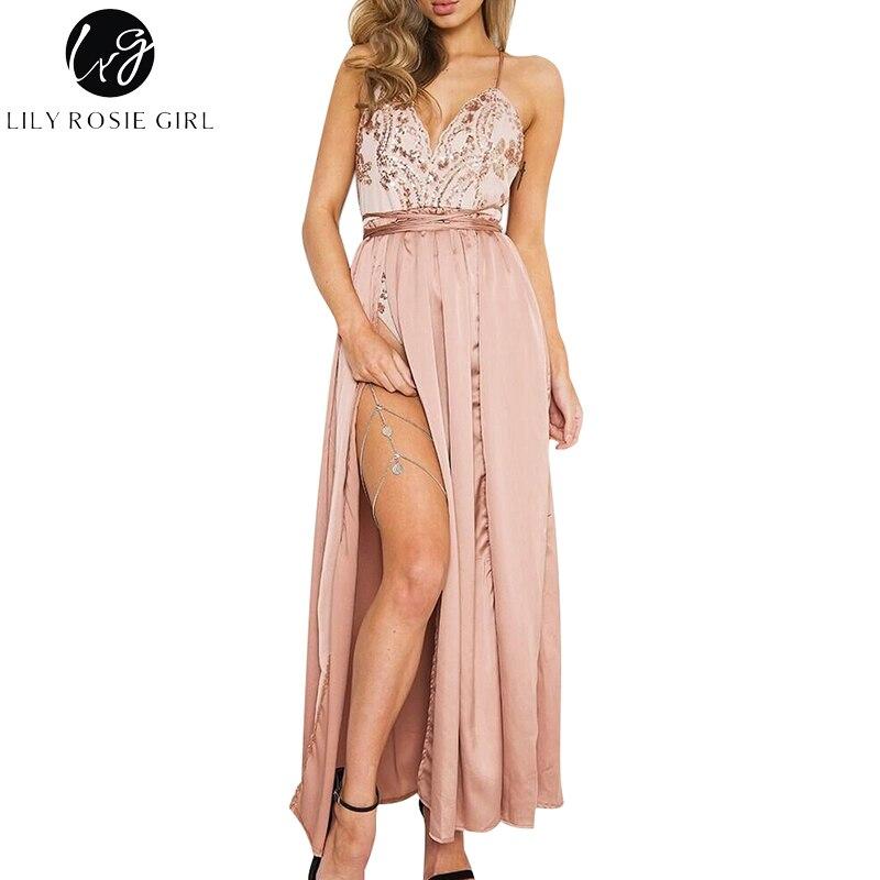 2d360dba505a6 Lily Rosie Girl Pink Sequin Off Shoulder Sexy Dress Women Summer Deep V  Neck Empire Split Party Maxi Long Strap Dresses Vestidos