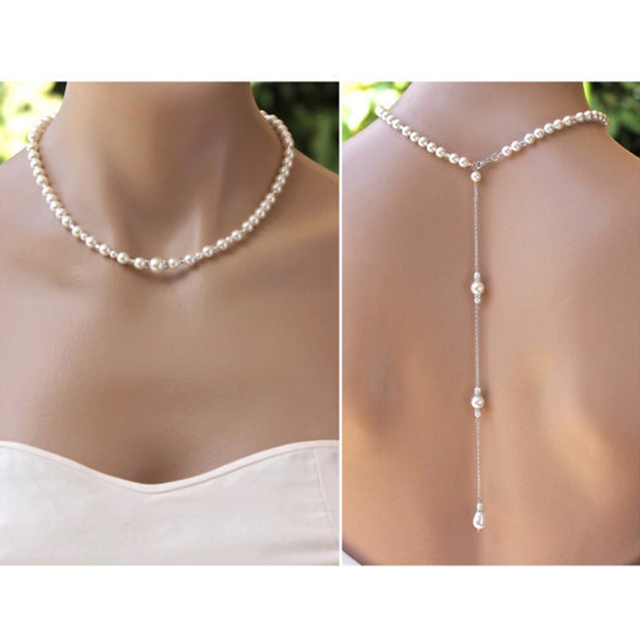simple simulado perla collar largo backless vestido accesorios