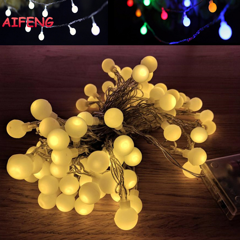 AIFENG Light String 10M 80Leds Ball String Led Garland AA Battery Powered Light String For Christmas Wedding Party Holiday Decor string