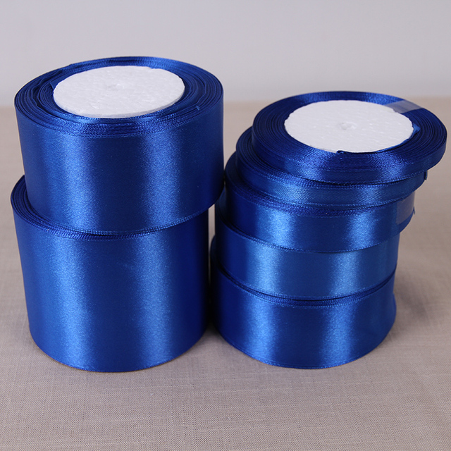 (25 Yards/roll) 6/10/15/20/25/40/50mm Sapphire Color Single Face Satin Ribbon DIY Gift Wrapping Christmas Ribbons