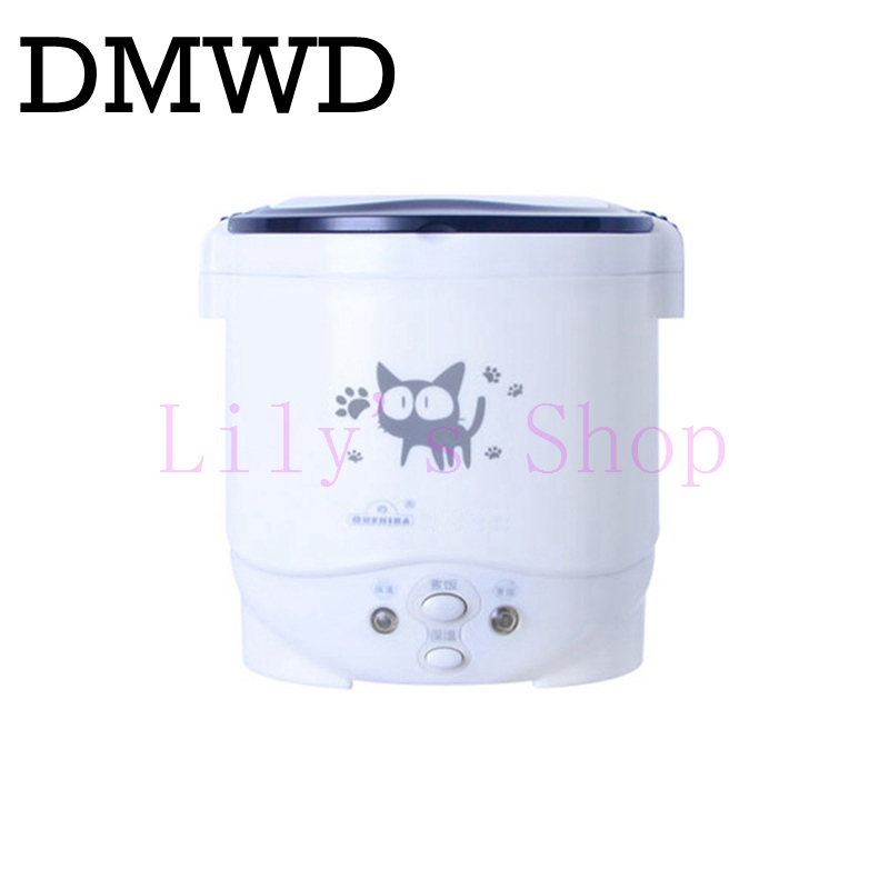 DMWD MINI rice cooker 1L portable electric Lunch Box heating steamer cabinet Food Container travel offce home 110V 220V EU US parts for electric rice cooker