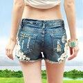 2017 плюс размер женщина отверстие джинсовые шорты Джинсы лето свободные хлопок шорты для женщин, женские hot sexy плиссированные печати шорты джинсы