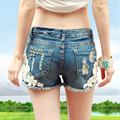2017 plus size female hole denim shorts Jeans summer loose cotton shorts for women,feminine hot sexy pleated print shorts jeans