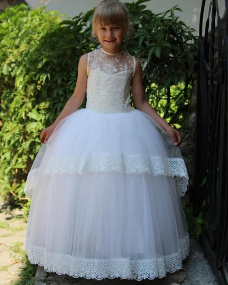 Fashion Little Princess Ball Gown Floor Length Lace Appliques   Flower     Girl     Dresses   for Weddings Party Pageant Custom Made