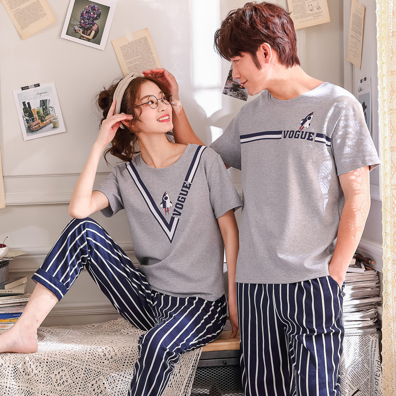 Matching Couple Pajama Set Cotton Pijamas Short Sleeve + Striped Pants Sleepwear His-and-her Home Suit Pyjama For Lover Man Woma