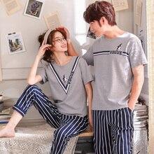 Matching Couple Pajama Set Cotton Pijamas Short Sleeve + Striped Pants  Sleepwear His-and- 30336eb59