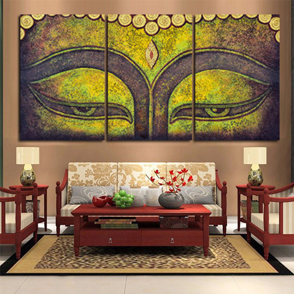 3 pieces set modern wall art printed painting buddhism the for Modern home decor pieces