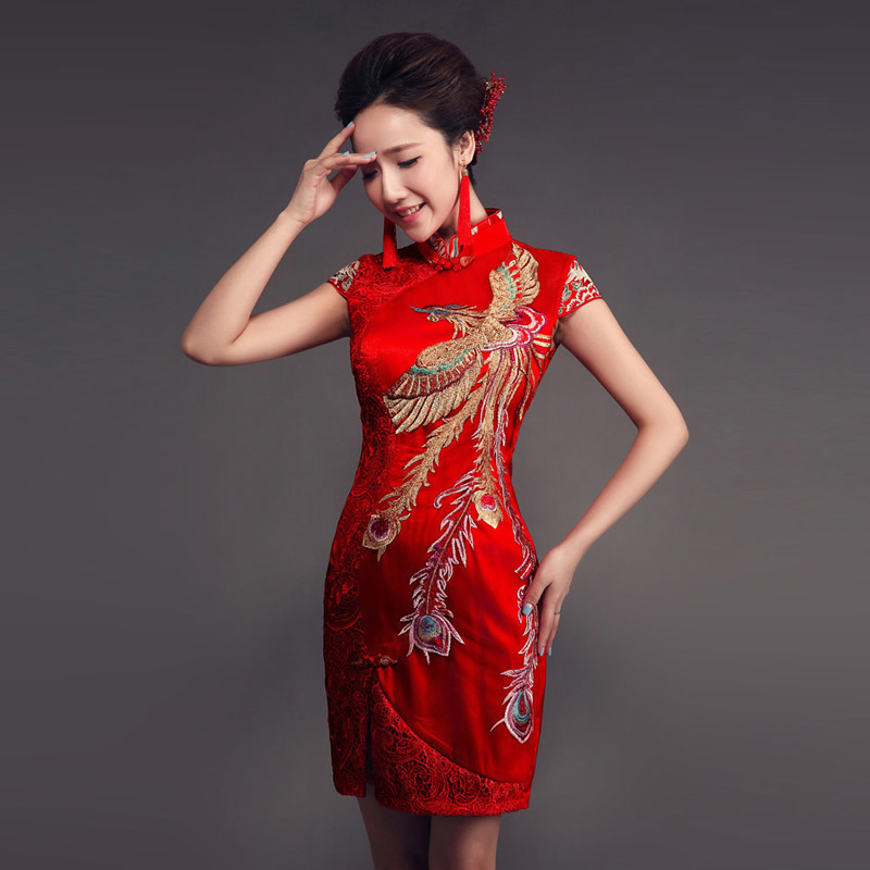Red Lace Chinese Dress Qipao Modern Bride Short Marry