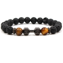 Now Hot Trendy Lava Stone Pave Dumbbell Charm Bracelet Men Or Women Beads Unisex Jewelry Pulseras Mujer Moda 2018
