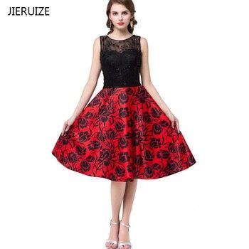 958db95188ca3 JIERUIZE Siyah Dantel Kırmızı Baskı Çiçek Ucuz balo kıyafetleri Kısa 2017  Boncuklu Kısa Akşam Parti Elbiseler vestido de festa curto