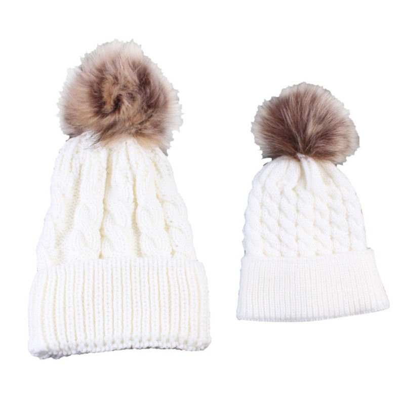 2Pcs Winter Warm Caps Parent-child Hat Baby and Mother Hats Children Adult Pom Beanie Warm Knitted Fur Crochet Hats bohs 2 persons parent child board game family fun recreation