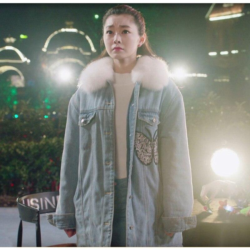 Dame Vêtements Hiver Femmes Jeans Pour Coton Veste Rembourré Fille Denim Automne Papillon Manteau Avec Col De Fourrure Et Loisirs Lâche x1wp0Tq8X