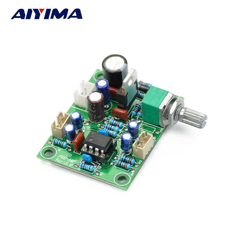 Aiyima NE5532 Pre-amp Preamplifier volume adjustment Board 10 times Preamp magnification board DC Single power supply 10-34V ne5532 pre amp board w volume potentiometer blue