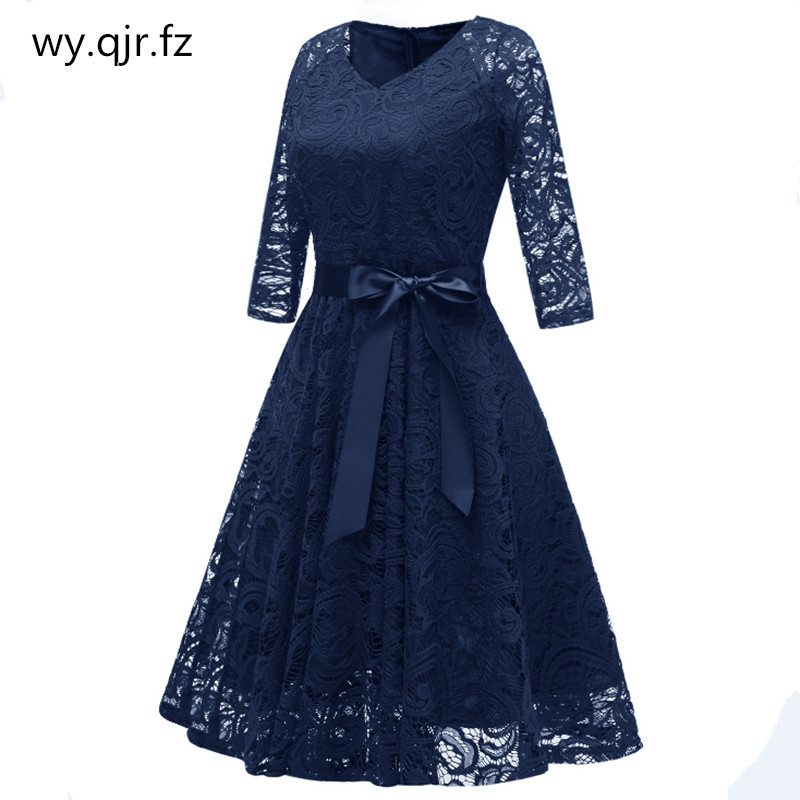 CD1592Z#dark Blue V-neck Bow Lace Short Bridesmaid Dresses Wedding Party Dress Prom Bridal Gown Cheap Wholesale Women's Clothing