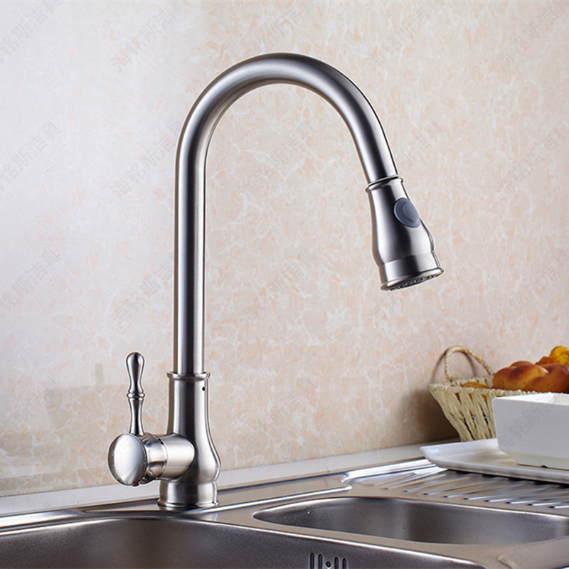 Free shipping deck mounted brushed kitchen sink faucet with pull out kitchen faucet and solid brass kitchen sink water faucet free shipping low price promotion brushed nickle solid brass spring kitchen faucet two spouts pull deck mount mixer faucet zr659