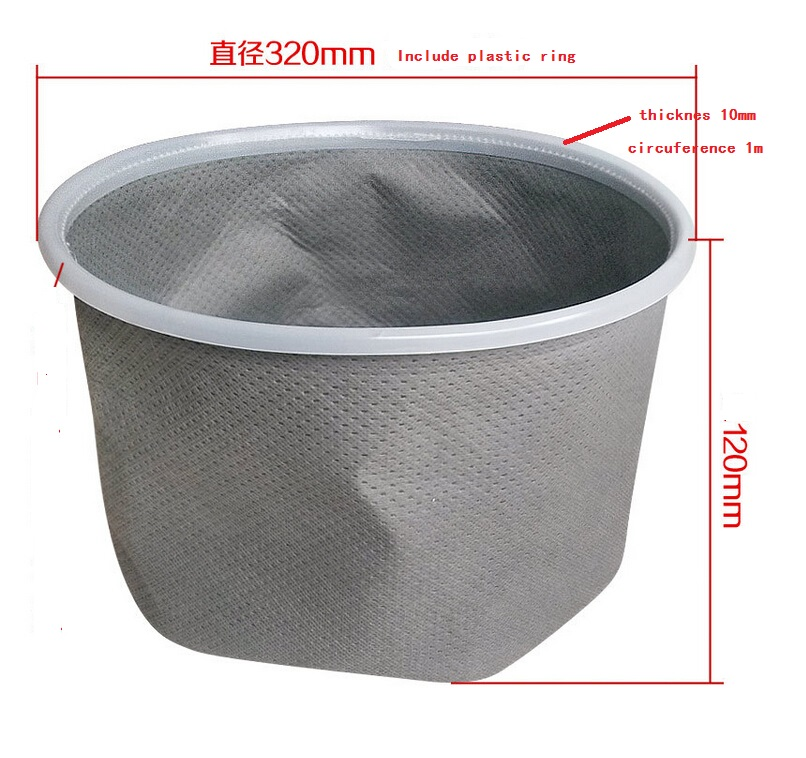 VT02W-09B dust bag non woven with plastic PE ring 32cm diameter