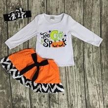 Automne boutique vêtements citrouille coton À Spark Mignon vêtements avec jupes bébé filles Halloween à manches longues tenues avec des arcs