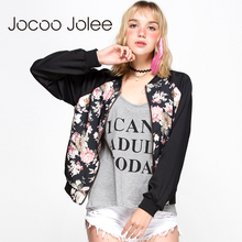 Jocoo Jolee Apparel Color Block Women Jacket Coat Casual Floral Embroidery Loose Female Bomber Jacket Streetwear Tops For Ladies