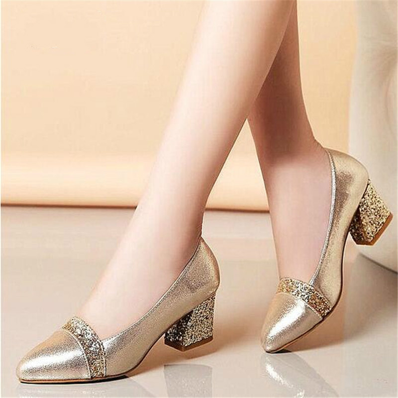 Dropshipping 2018 Women Pumps Sweet Style Square High Heel Sequins Pointed Toe Spring and Autumn Elegant Shallow Ladies ShoesDropshipping 2018 Women Pumps Sweet Style Square High Heel Sequins Pointed Toe Spring and Autumn Elegant Shallow Ladies Shoes