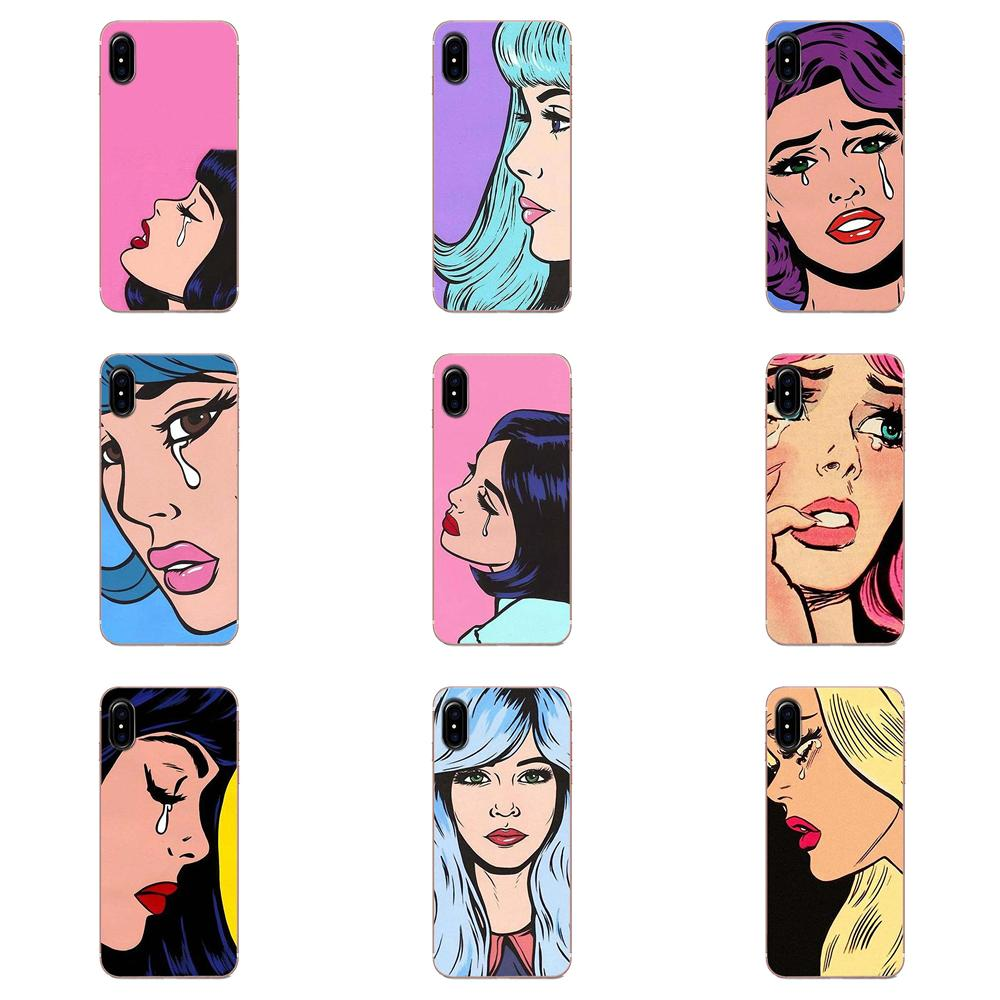 Vintage Pop Art Crying Girl TPU Cell Bags For Galaxy J1 J2 J3 J330 J4 <font><b>J5</b></font> J6 J7 J730 J8 2015 2016 2017 2018 mini Pro image