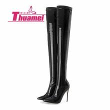 Модные женские мотоциклетные ботильоны на платформе и высоком каблуке 12 см, сезон осень-зима, женская обувь, Botas, цвет черный,# Y0794420F