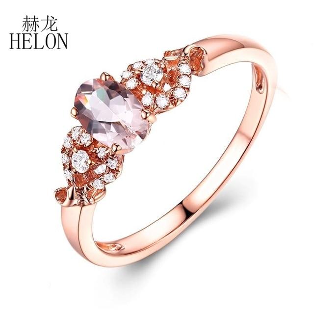 HELON Solid 14k Rose Gold Gemstone Prong Oval Shape 6X4mm Morganite Natural Diamond Beauty Bride Engagement Wedding Fine Ring 3