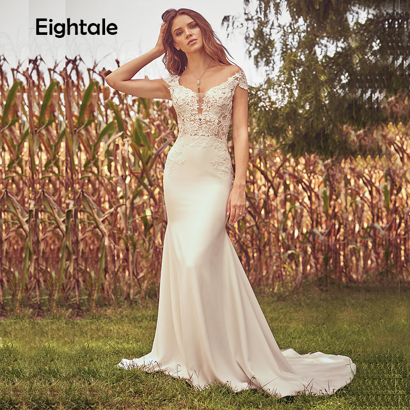 Eightale Wedding Dress Mermaid 2019 Scoop Appliques Lace Cap Sleeve Bohemian Buttons Back Boho Bride Dress