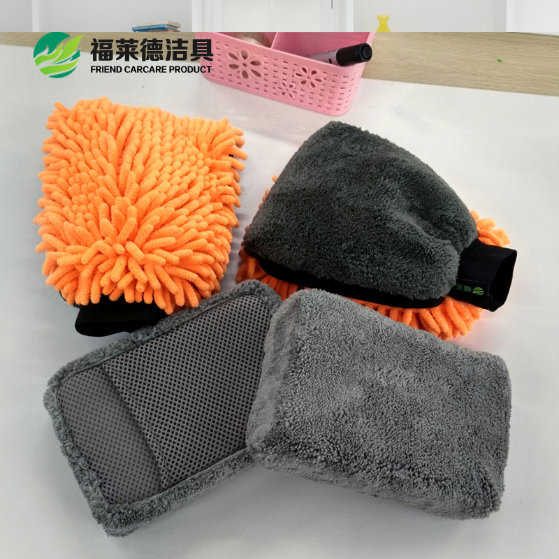 Car Care 4 Piece Suit Car Cleaning Kit Car Sponge Coral Chenille Glove Super Absorbent Glass Cleaning Kitchen Cleaning Tool in Sponges Cloths Brushes from Automobiles Motorcycles