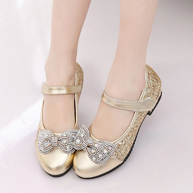 European Design Gold Children Girls Party Shoes Glitter Fashion Children Wedding Shoes Rhinestone Bow Child Shoes Sapatos Ninas