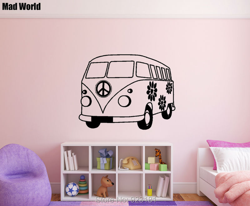 Adventure Car Hippie Bus Silhouette Wall Art Stickers Decal Home DIY Decoration Wall Mural Removable Bedroom Decor Wall Stickers