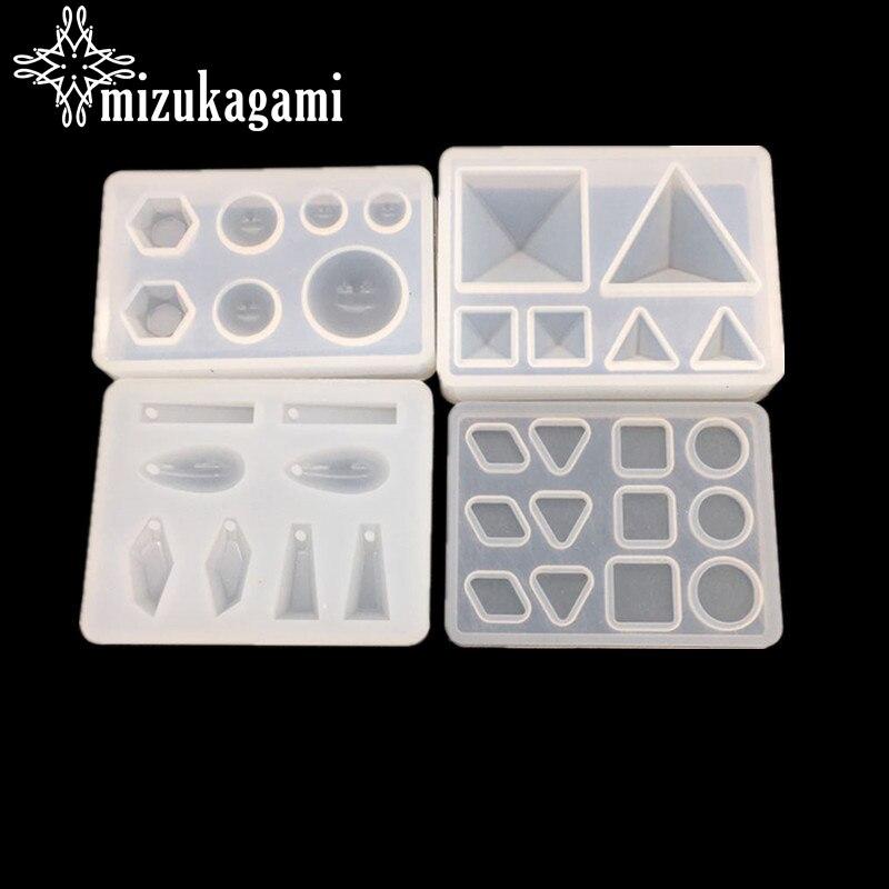 1UV Reçine Takı Sıvı silikon kalıp Piramit Geometri Boncuk Reçine Kalıpları DIY Için Takı Yapımı Bulma Kalıpları Aksesuarları