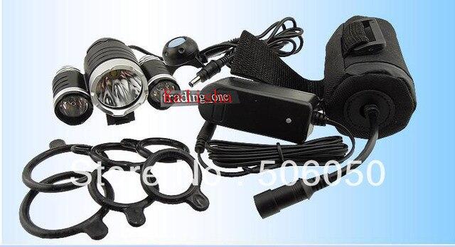 3800 Lumen 1x CREE XM-L T6 LED + 2x XPE R2 LED Bicycle Light 3 Mode Bike Front Light + 6400mAh Battery Pack