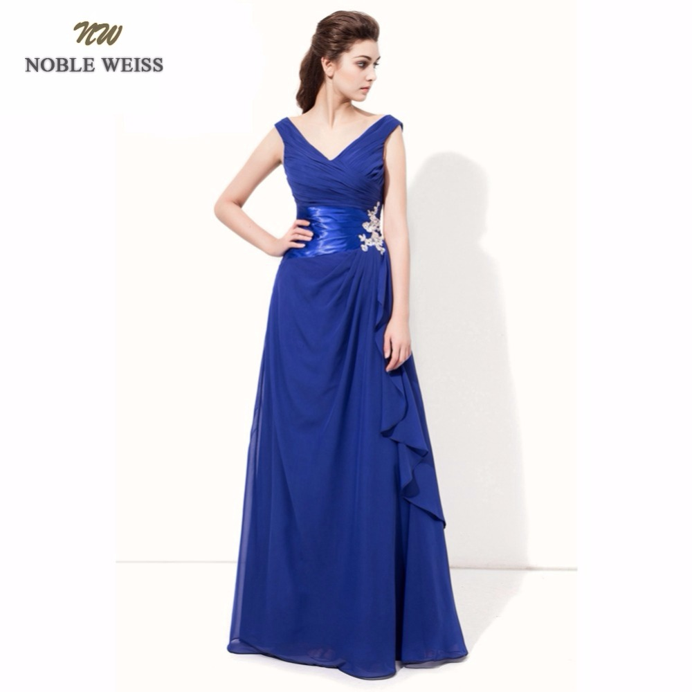 NOBLE WEISS Sexy Evening Dresses A-line Royal Blue Pleat Long Special Occasion Dresses Custom Made Chiffon Formal Dresses