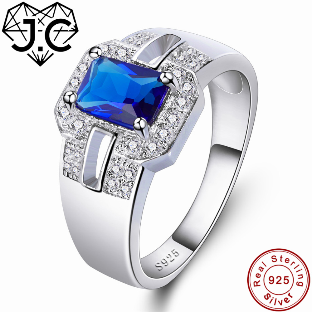 J.C Luxurious Rainbow & Sapphire Blue Topaz Solid 925 Sterling Silver Ring Size 6 7 8 9 Female Wedding Accessories Fine Jewelry