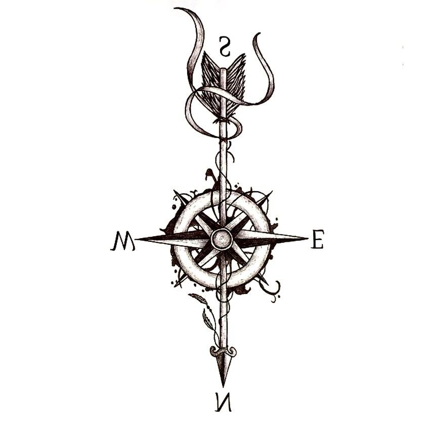 3 unids Brújula Flecha Impermeable Etiqueta Temporal Del Tatuaje Harajuku Tatuaj