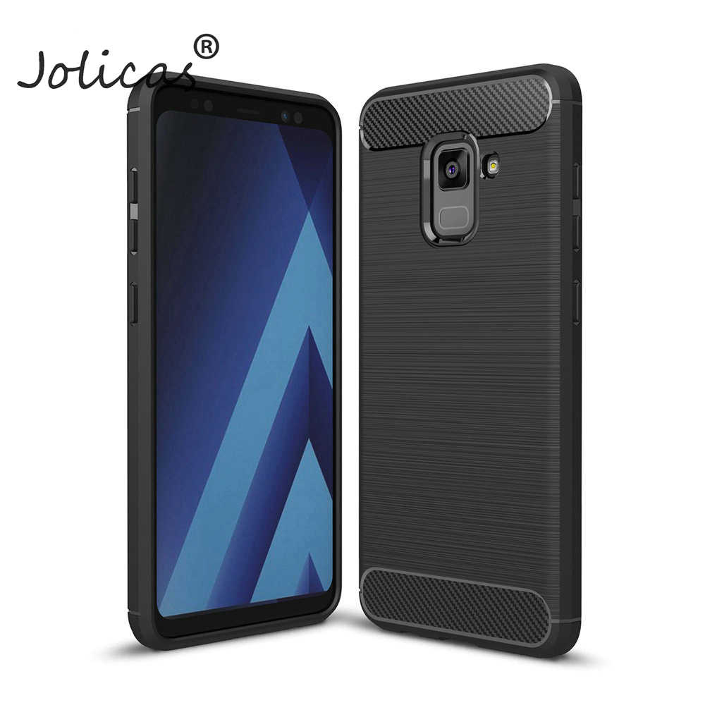Back Cover For Samsung Galaxy A8 2018 Case Soft Carbon Fiber Silicone Mobile Phone Cases For Samsung A5 2018 A530 Funda
