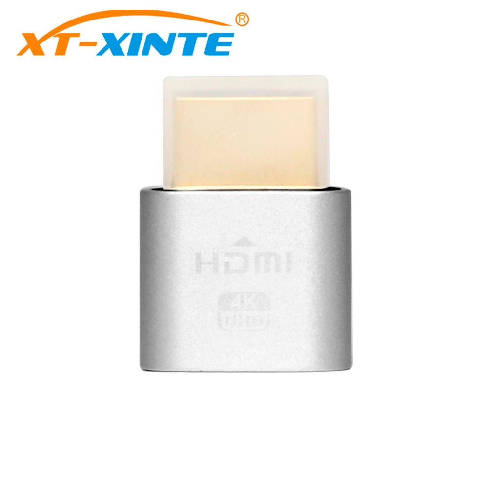Silver VGA Virtual Display Adapter Dummy Plug HDMI 1.4 DDC EDID Headless Ghost Display Emulator Fit Headless-4K 1920x1080@60Hz