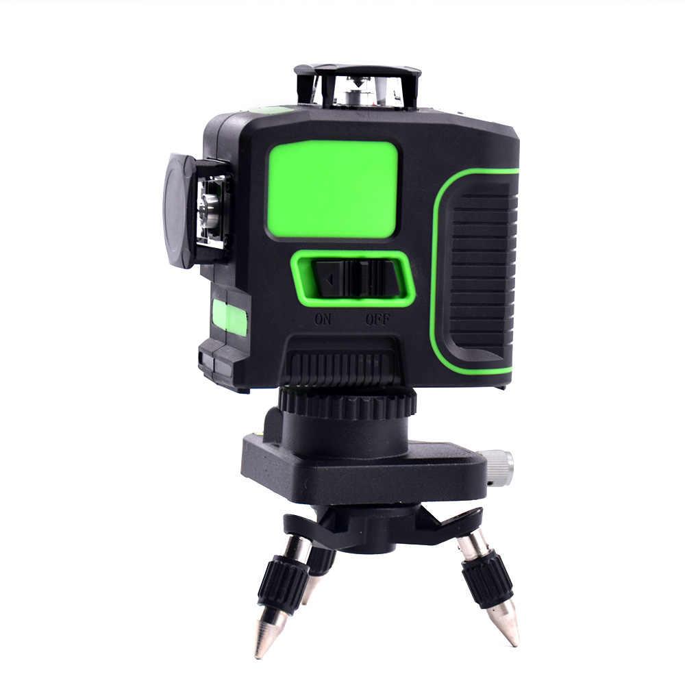 Новый 3D 12 линий зеленый синий лазерный уровень с кронштейном лазерный луч линия самонивелирующийся 360 горизонтальный вертикальный крест мощный