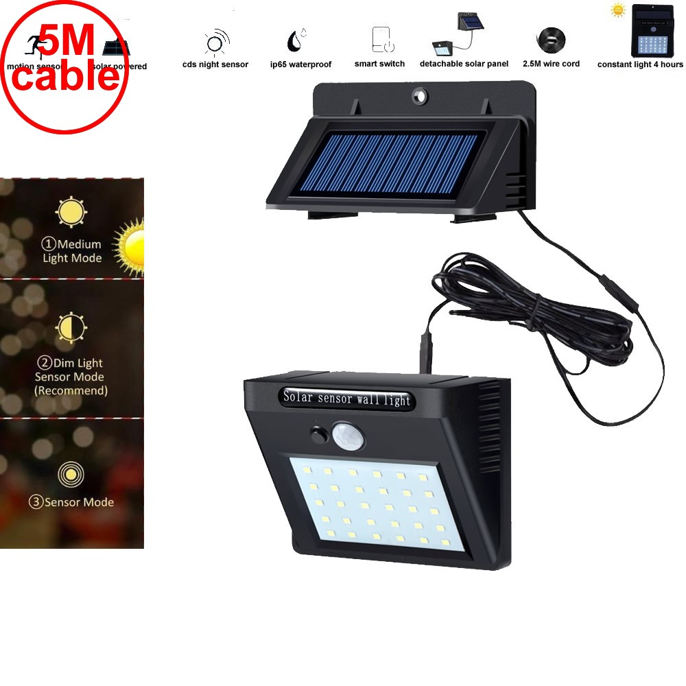 30 led 500lm solar light split mount pIR motion 3 senser  Solar Motion Sen IP n torc street wall indoor lamp bulb strings for pa|Solar Lamps| |  - title=