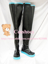 Custom made long blak and blue miku Shoes boots from vocaloid Cosplay