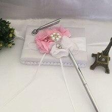 Горячая белая атласная Цветочная Свадебная книга для гостей набор ручек с Милая Лента бусины FQ-ing