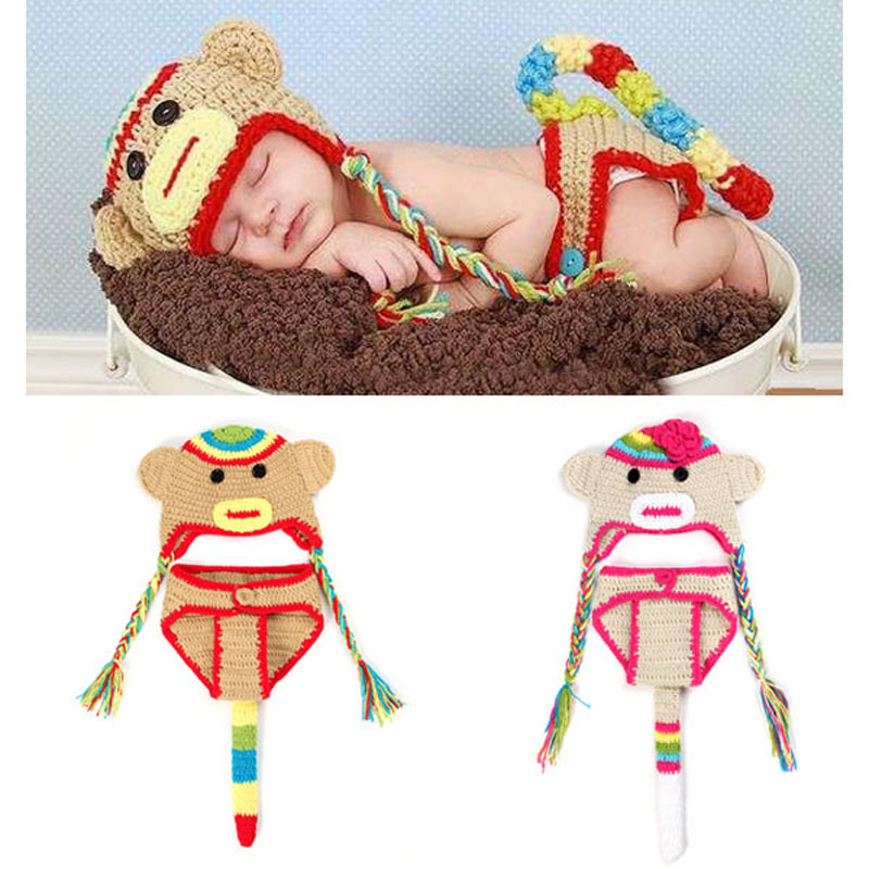 Baby Sock Monkey Beanie Hat with Pants Set Newborn Toddler Crochet Animal Costume Outfit Photography Props H043