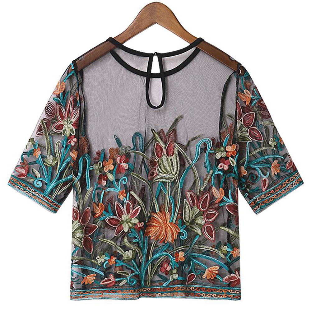 Embroidery 3D Tops Floral Transparent Lace   Blouse     Shirts   2018 Summer Women Short Sleeve Sexy Breathable Mesh Vintage   Blouse