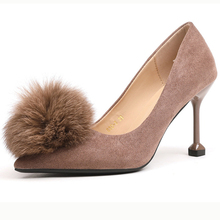 XZ020 Women High Heels Shallow Office Shoes Spring Autumn Fur Ball Flock Pointed Toe Women Pumps Lady Sexy Super Hoof High Heels lakeshi 2018 new super high women shoes pointed toe flock women pumps fashion sexy high heels office shoes women wedding shoes