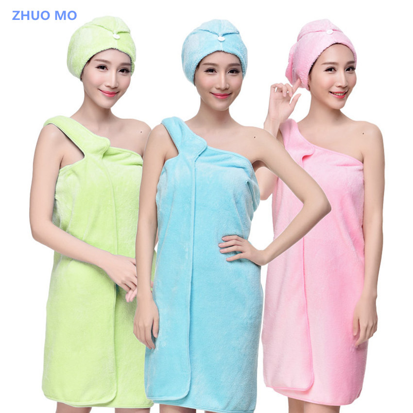 ZHUO MO Women Sling Super Absorbent Thick Bath Towel Hair Dry Cap Quick-drying Microfiber Bath Robe Spa Absorbent Bath Gown