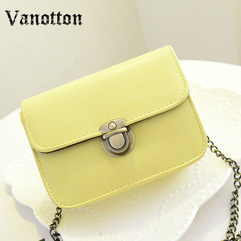 New Fashion Women Messenger bags Chain Shoulder Bag PU Leather Candy Color Crossbody Mini Bag Pure Color B1010W fashion matte retro women bags cow split leather bags women shoulder bag chain messenger bags