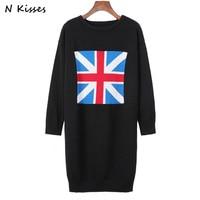 De alta Calidad de la Marca de Lujo 2017 de La Moda de Inglaterra REINO UNIDO Patrón de La Bandera Del O-cuello Knitting Mini Vestido de Las Mujeres Vestido de Manga Larga