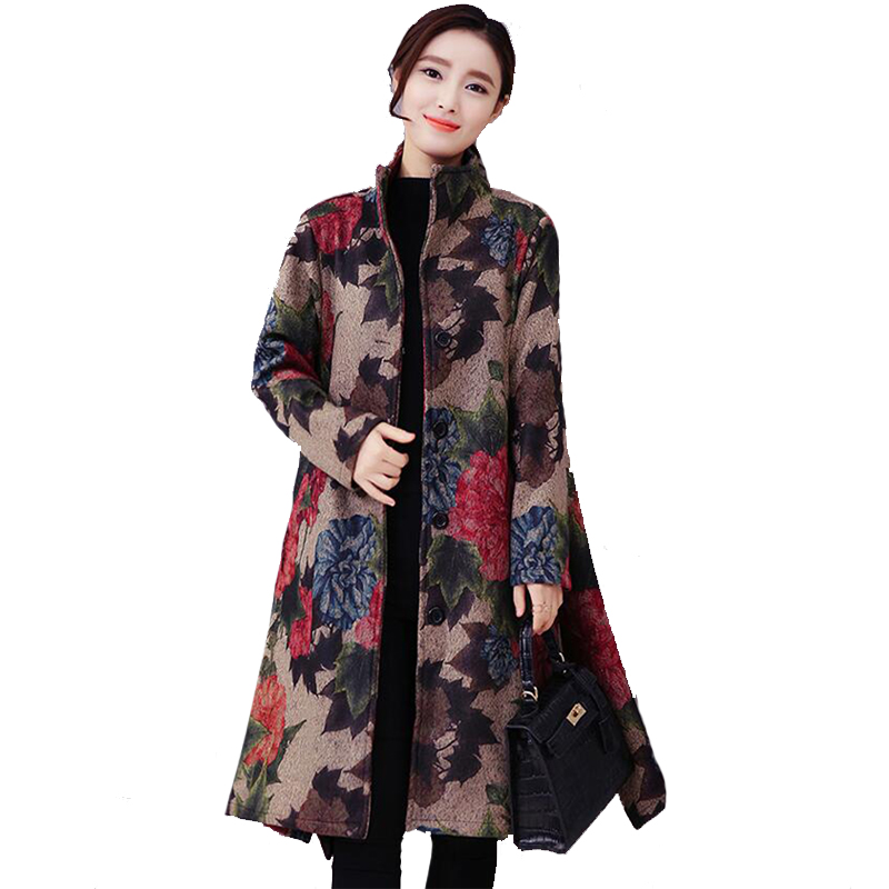 Autumn Winter Female Folk Wind Printed Flowers Cloak Wool Coat Big Yards Long Vintage Coats Clothes Plus Size Loose Coat