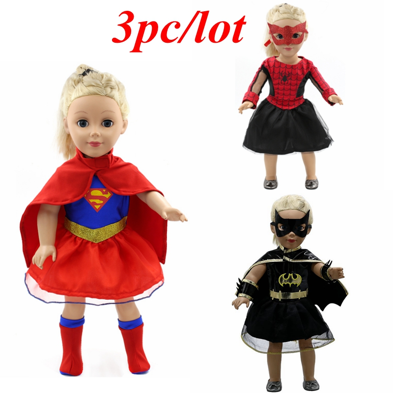 3pc/lot Doll Clothes Superhero Spiderman Superman Batman Clothes for 18 inch American Girl Doll Baby Born Zapf Doll Clothes Z12 american girl doll clothes elegant color flower print long dress doll clothes for 18 american girl best gift 5 colors d 2