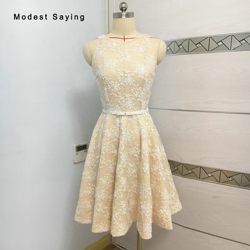 Elegant A Line Champagne and Ivory Lace   Cocktail     Dresses   2018 Girls Homecoming   Dresses   Knee Length Engagement Party Prom Gowns
